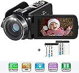 Videokamera Camcorder, Aabeloy YouTube Vlogging Kamera HD 1080P 24.0MP 3,0 Zoll LCD 270 Grad drehbarer Bildschirm 16-facher Digitalzoom Kamerarecorder mit 2 Batterien