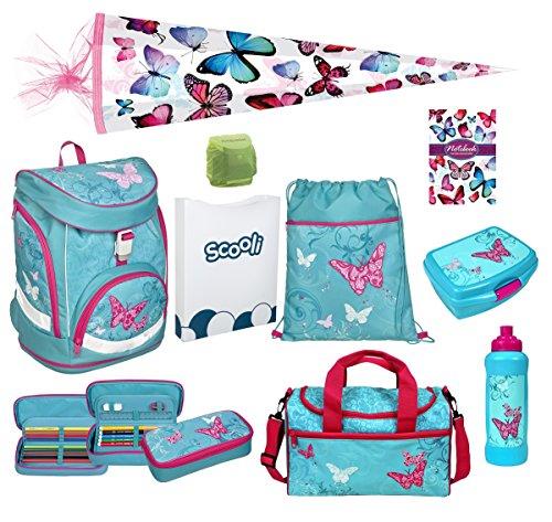 Familando Butterfly Mädchen Schulrucksack-Set 10 tlg. Twixter Up Sporttasche Schultüte 85cm Schulranzen Scooli türkis