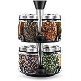 Blümwares herbes et épices avec 12bouteilles Bocal en verre–tournant Countertop Carousel Ensemble de herbes et épices pour comptoir de cuisine