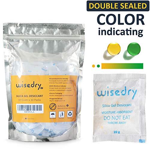 wisedry 10 Gramm x 30 Stücke Silica Gel Trockenmittel Taschen Beutel Mit Orange Perlen Feuchtigkeit indikator regenerierbar trockenmittelbeutel wiederverwendbar, Lebensmittelqualität