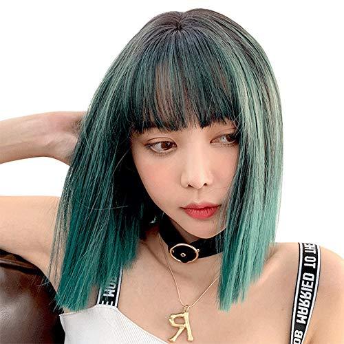 LXFENG Perücken Für Frauen, Pfau-Grün-Steigungsfarbe Kurzes Gerades Haar Mode-realistische Synthetische Perücken Für Frauen Cosplay-Partei-Haar 43cm, Stirnlänge: 13cm