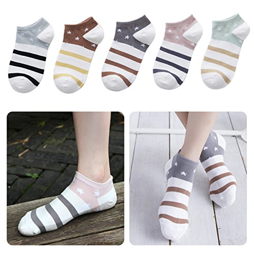Lamdgbway 5 Pairs Fashion Women Socks Low Cut No Show Socks Cotton Ankle Sock