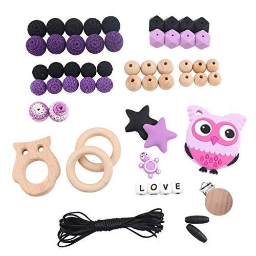 (baby tete Baby Halloween Silikon DIY Kinderkrankheiten Kit Eule Anhänger Beißring Mütter Halskette Geschenk Machen)