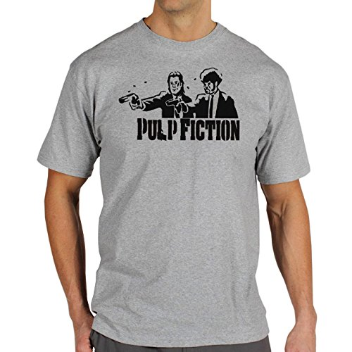 Pulp Fiction Ouentin Tarantino Movie Awesome Look Background Herren T-Shirt Grau