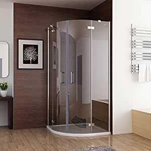 glasdeals spa fix cabine de douche 90 x 90 x 195 cm ronde douche porte pliante de douche en. Black Bedroom Furniture Sets. Home Design Ideas