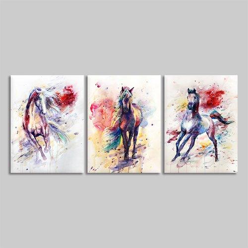 BYXART Colorful Pferd Bilder gerahmt Art Wand Dekor für Wohnzimmer Schlafzimmer Wände 3Stück Platten Prints Poster Rahmen Animal Leinwand Malerei Home Decor Fertig Zum Aufhängen 12x16inx3 Mehrfarbig