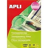 Apli 732125 - Pack de 100 transparencias de poliéster, A4
