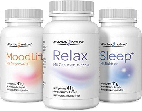 Preisvergleich Produktbild effective nature Balance Set - 3 Kombipräparate - Moodlift, Relax, Sleep - Natürliche Unterstützung bei Stress, für einen gesünderen Schlaf und zur Vitalisierung