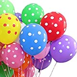 #10: Pindia 95Pcs Assorted Color Polka Dot Design Party Balloons For Birthday Party Christmas Carnival Festival Wedding Decoration And Other Ocassion- Random Color