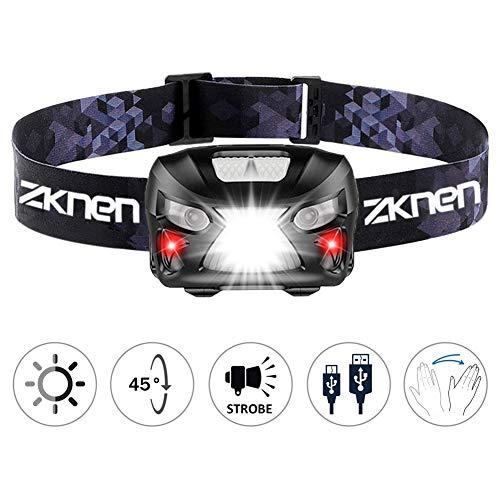 zknen Stirnlampe LED, USB Wiederaufladbare Mini Stirnlampe Kopflampe Wasserdicht Leichtgewichts Stirnlampe 6 Leuchtmodi für Laufen Jogging