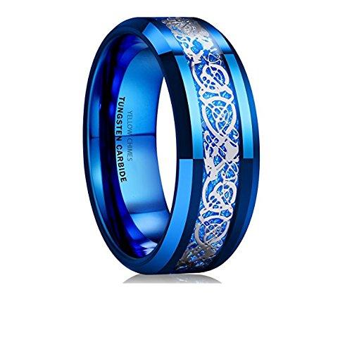 Yellow Chimes Dragon Celtic Inlay Polish Finish Titanium Steel Ring for Men & Boys