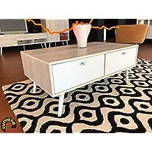 Curvasa - Mesa de Centro Nordico Color Roble Blanco 100 x 60 x 42 cm Harmony