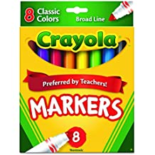 Crayola Non-Washable Markers, Broad Point, Classic Colors, 8/Set (58-7708)