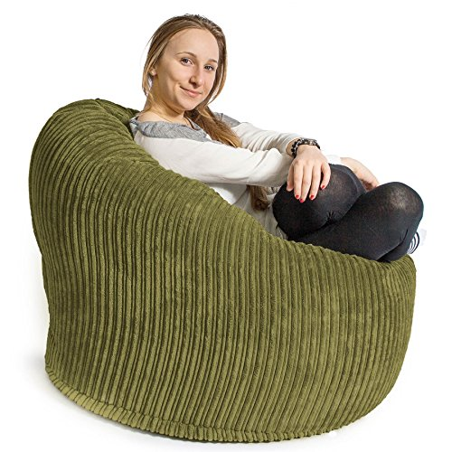 LOUNGE PUG – Mini Mammoth Beanbag LIME Cord – Gaming/ TV –PERFECT for Students, Teenagers & YOUNG Professionals
