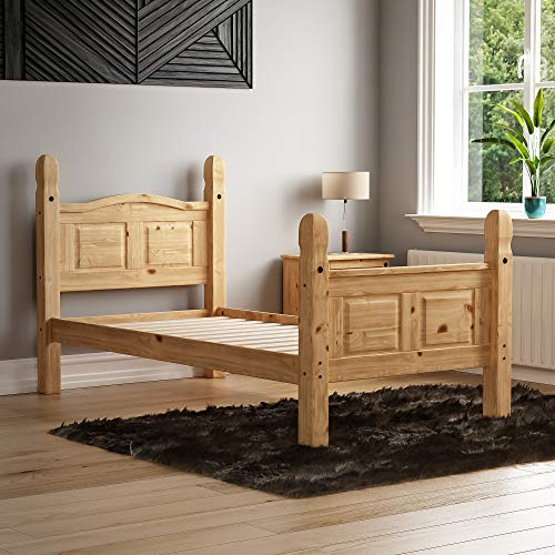 Vida Designs Corona Single Bed, 3 Foot, High Foot End Bed Frame, Solid Pine Wood