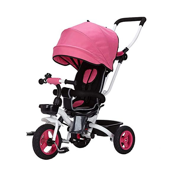 4 In 1 Childrens Folding Tricycle 360° Swivelling Saddle 6 Months To 5 Years 3-Point Safety Belt Kids Tricycle Comfortable And Adjustable Backrest Child Trike Maximum Weight 25 Kg,Pink BGHKFF ★Material: Steel frame, suitable for children from 6 months to 5 years old, the maximum weight is 25 kg ★ 4 in 1 multi-function: can be converted into baby strollers and tricycles. Remove the hand putter and awning, and the guardrail as a tricycle. ★Safety design: Golden triangle structure, safe and stable; front wheel clutch, will not hit the baby's foot; 3 point seat belt + guardrail; rear wheel double brake 9