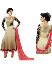 Radhey Arts Cream and light pink georgette embroidered semistitched salwar with dupatta