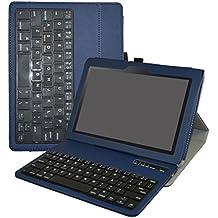 """Lenovo Tab3 10 Business teclado Funda,Mama Mouth DETACHABLE Bluetooth teclado teclado (teclado QWERTY formato inglés) PU Cuero Con Soporte Funda Caso Case para 10.1"""" Lenovo Tab 3 10 Business TB3-X70F / TB3-X70N Tablet 2016,Azul"""