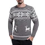 Heflashor Herren Winter Strickpullover Rundhals mit Rentier Drucken Warm Weihnachtspullover Slim Fit Langarm Christmas Sweatshirt Pulli