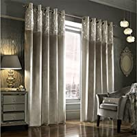 """Kylie Minogue Esta Silver Velvet Lined 90"""" X 90"""" - 229cm X 229cm Ring Top Curtains by Kylie Minogue Home."""