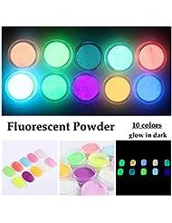 Meicailin 10stück Nägel Glitzerpuder Nachtleuchtend Glühen Nail Art Glitter Pulver für Nageldesign Maniküre