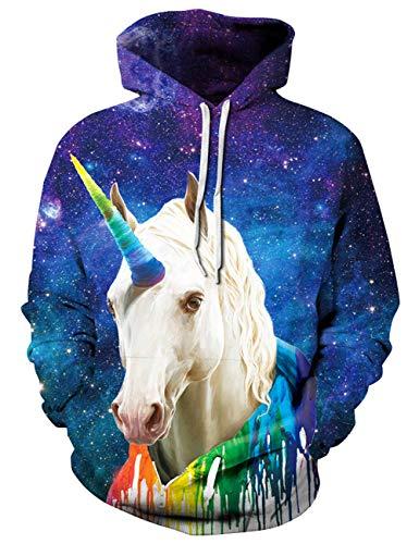 Goodstoworld 3D Einhorn Pullover Kapuzenpullover Mädchen Herren Hoodie Sweatshirt Bunt Grafik Print...