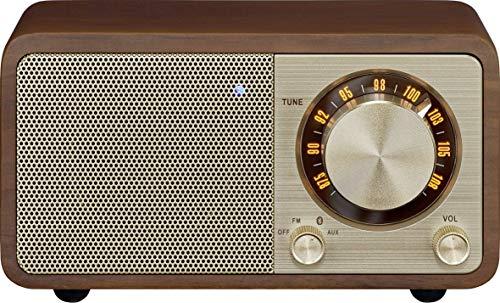 Sangean WR-7 tragbares Desktop-Radio (FM-RDS-Tuner, Bluetooth, AUX-In, integrierter Lautsprecher, Akkubetrieben(aufladbar)) , Kirsche