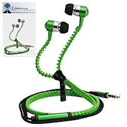 iTALKonline Acer NeoTouch P400 Green Premium 3.5mm ZIP Aluminium High Quality In Ear Stereo Wired Headset Hands Free Headphones with Built in Mic Microphone and On Off Button
