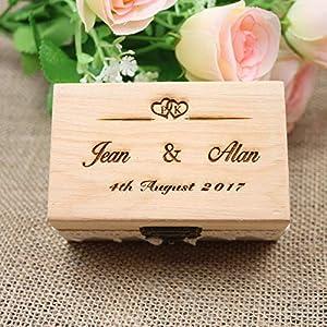 Benutzerdefinierte Holz ersten name Rustikale Hochzeit Ring Box, Valentines Engagement spitze Hölzernen Ring Box, Personalisierte Hochzeit Ring box