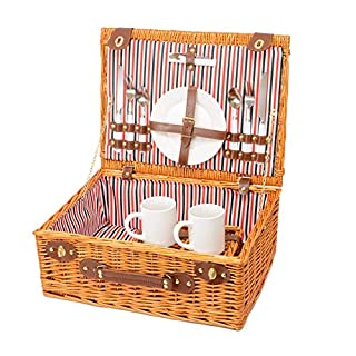 Miyagi Tea Europe 2 Person Traditional Vintage Golden Brown Wicker Picnic Basket Hamper with Cutlery, Plates, Mugs, Tableware