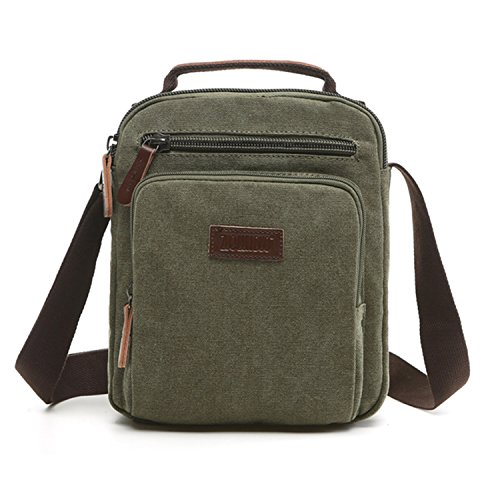 Outreo Borsa Tracolla Uomo Vintage Borse da Spalla di Tela Sacchetto Piccolo Canvas Messenger Bag Studenti Scuola Borsello per Università Tablet Tasche Viaggio Sport Tasca (Verde One)