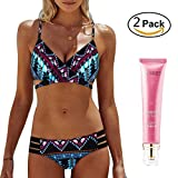 DRESS_start damen böhmen push-up gepolsterte bh beach bikini set badeanzug bademode bikini bademode badeanzug plus größe badeanzüge bikinis für frauen mädchen push up (L, Himmelblau)