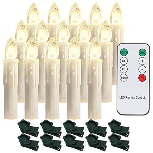 Hengda 30er LED Kerzen Dimmbar Weihnachtskerzen Kerzenlichter Flammenlose für Weihnachtsbaum, Weihnachtsdeko, Hochzeit, Geburtstags, Party, Warmweiß