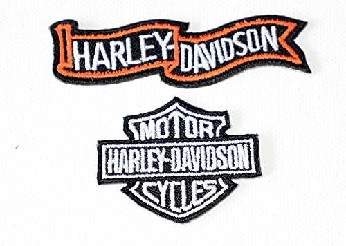 Embroidered Iron On Patch Harley Davidson Red 9.5 x 5 cm