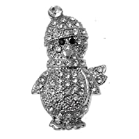 Acosta Brooches - Clear Crystal Silver Tone Penguin Brooch - Christmas Jewellery Gift - Boxed