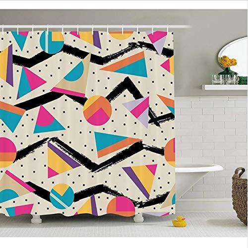 HHYSPA Indie Duschvorhang Fußmatte Mode Stil Geometrische Abstrakte Bunte Design Mit Punkten Funky Stoff Bad Dekor Mit 12 Haken 71X71 Inch