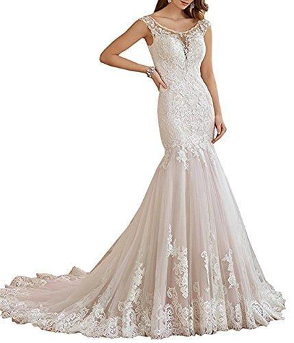XUYUDITA Abiti da sposa romantici del vestito da cerimonia nuziale del merletto della sirena di V che bordano le donne abiti nuziali Avorio