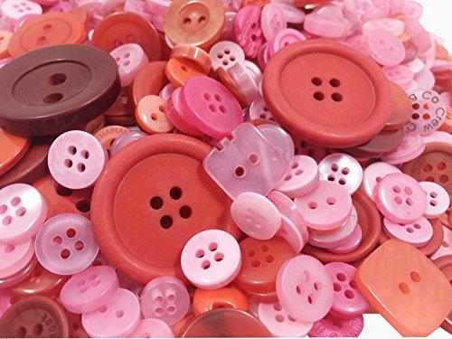 600pcs Knopf Harz Bastelknöpfe DIY Knöpfe für Nähen Handwerk Scrapbooking Deko Handgefertigte Verzierung Zufällig Mix Rosa