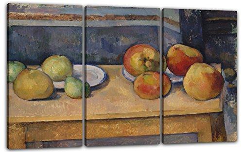 Paul Cézanne - Stillleben mit Äpfeln und Birnen (ca. 1891–92), 120 x 80 cm (Dreiteiler, 3 x 40x80cm) (weitere Größen verfügbar), Leinwand auf Keilrahmen gespannt und fertig zum Aufhängen, hochwertiger Kunstdruck aus deutscher Produktion (Mit Cezanne Äpfeln Stillleben)