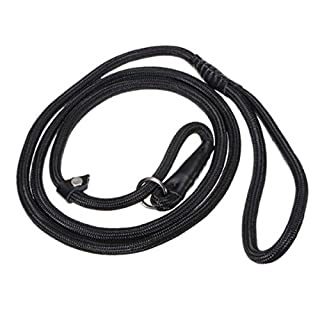 UEETEK Durable Pet Dog Nylon Adjustable Loop Training Leash Slip Lead Traction Rope 1.5m (Black)