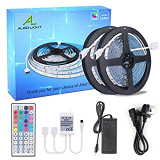 ALED LIGHT Non-waterproof 2x5M (10M in Total) 5050 RGB 300 LED Strip Lights Full Kit With 5A UK Power Supply +44 Key IR Remote.Ideal for Home and Kitchen Lighting