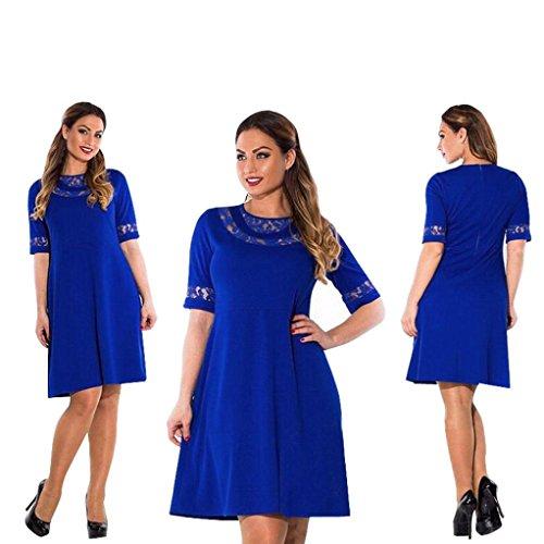 Damen Kleider,DOLDOA Rundhals Einfarbig 1/2 arm Knielang Kleid (EU:52, Blau,Einfarbig 1/2 arm Knielang Kleid) (Zebra-kleid Lila)