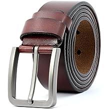 d620aa491aa 3ZHIYI cinturón hombre de cuero negro hebillas Plateada