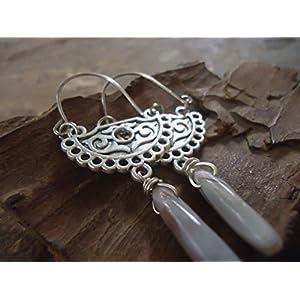 ✿ TRIBAL BOHO GELOCHT & STEIN ✿ seitliche Ohrringe