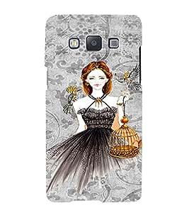 PrintVisa Fashion Bird Girl Dress Design 3D Hard Polycarbonate Designer Back Case Cover for Samsung Galaxy A7