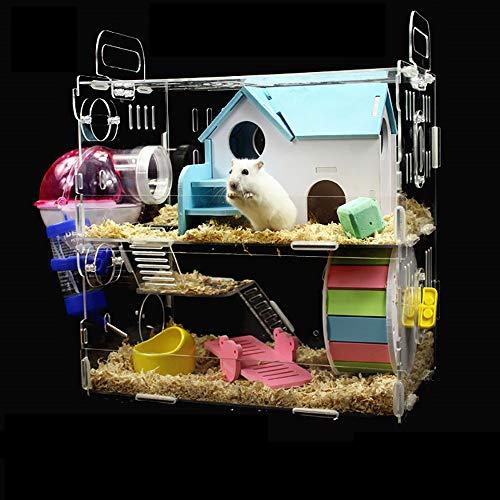 NJSD Hamsterkäfig, Zweischichtige Hamstervilla, Aus Transparentem Karton, Luxuriöses Interieur Passend, 30 * 20 * 30Cm Großes Design, Geeignet Für Kleine Haustiere Wie Hamster,C