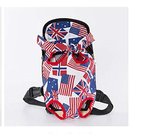 ZHONGYUAN Reiserucksack, atmungsaktiv, Katzen- und Hundeschultern, Brusttasche, L_American Flag Canvas