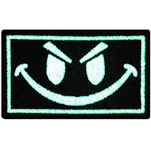 Schlechter Smiley Lächelndes Gesicht Taktisch Moral Flicken Bestickter Glühen Im Dunklen Aufnäher zum Aufbügeln / (Militär Kostüm Diy)