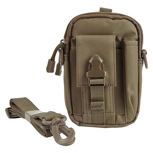 Faleto klein Outdoor Reisen Sport Taktische Tasche Hüfttasche Bauchtasche Gürteltasche für Camping Wandern Radfahren Klettern und Reisen (Braun) -