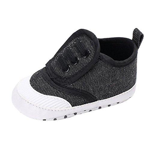 Barbarer Baby-Schuh-Jungen-Mädchen-neugeborene Krippe-weiche alleinige Schuh-Turnschuhe (1, Dunkelgrau)